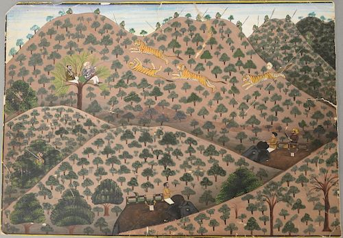 Kotah School,  opaque watercolor and gold on paper,  Tiger Hunt,  mountainous tiger hunt with great King in one tree shooting...