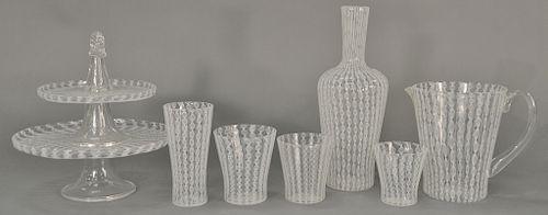Paolo Venini (1895-1959) ninety-six piece set of Zanfirico Merielto pattern glasses and serving pieces with spiral cane twist, sever...