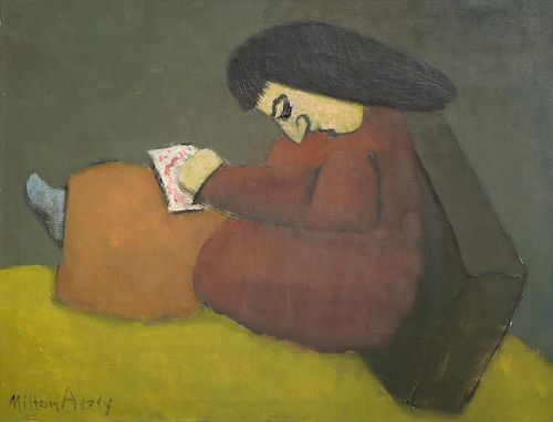 """Milton Clark Avery (1885-1965),  oil on canvas,  Young Artist c. 1938,  signed lower left: Milton Avery,  28 1/4"""" x 36 1/4""""   Proven..."""