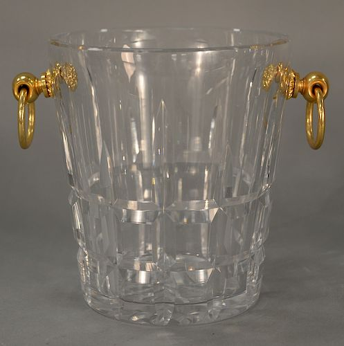 Cartier crystal wine cooler or champagne bucket,  having gilt bronze ring handles, signed on bottom: Cartier.  height 8 3/4 inches, ...