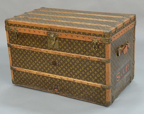 """Louis Vuitton trunk, lift-top and single interior tray (one leather handle as is, one missing).  height 23 inches, top: 21"""" x 36"""""""