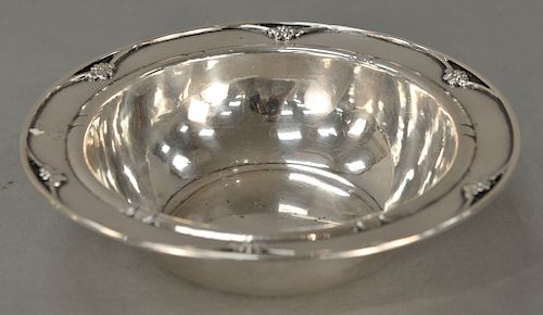 Georg Jensen sterling silver bowl,  leaf and berry border and rolled edge, marked on bottom: Georg Jensen Denmark 271.  height 2 3/8...