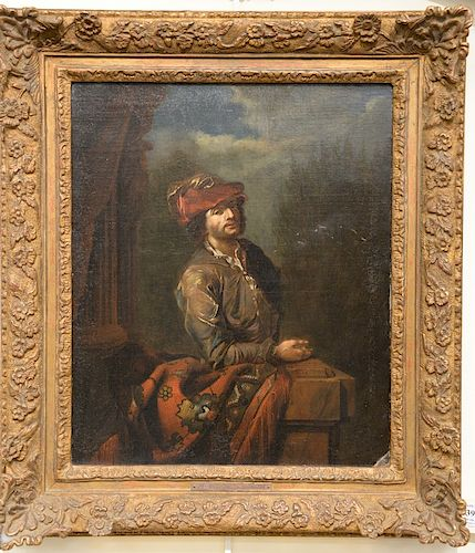 Dutch half length portrait,  oil on canvas,  Man with Landscape Background,  17th/18th century,  plaque marked: Adriaen van Der Werf...