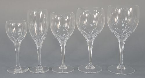 Set of Lalique stems, fifty-six total.  (12) 5 7/8 inches, (10) 6 3/4 inches, (15) 7 1/4 inches, (7) 7 1/2 inches, (12) 7 1/8 inches