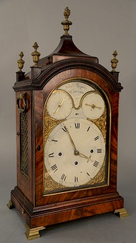 John Bryan mahogany chime clock with twelve bells,  dial with calendar and chime dial works and face signed: John Bryan London.  hei...