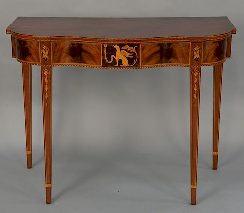Margolis mahogany console table with shaped top,  over chained dragon inlay, set on square tapered legs, having bellflower and line ...