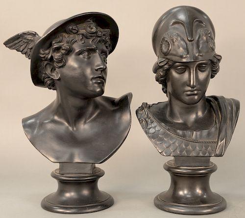 Pair of Wedgwood black basalt busts,  Mercury and Minerva raised on socle, impressed Wedgwood on back of each bust and on base.  hei...