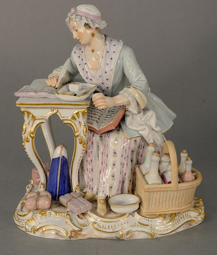 19th century Meissen figure of a seated woman writing in a ledger, marked with blue cross swords, Gilman Collamore & Co., New York l...