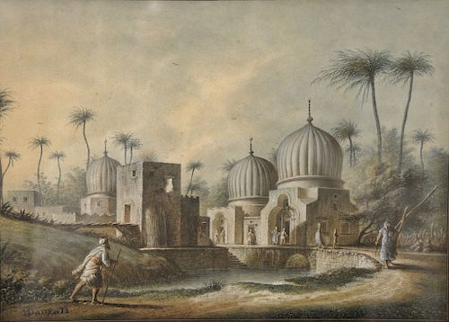 "Adrien Dauzats (1804-1868),  watercolor gouache,  ""Tombeaux de Saints Arabs Priés de Rosette"",  Tombs of Holy men, near Rosetta Egyp..."