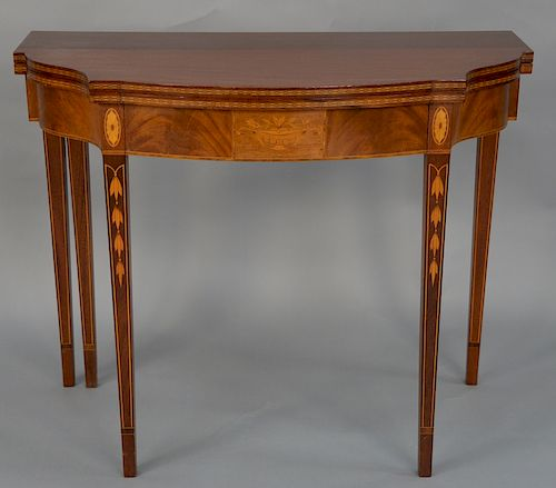 Fineberg mahogany five leg game table,  with drawer having large bellflower inlaid legs and urn inlaid panel.  height 29 inches, wid...