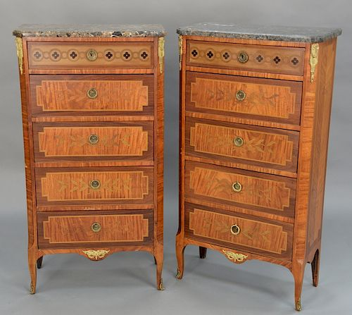 Pair of Louis XV style marble top lingerie chests,  gilt bronze mounts, 20th century (marbles do not match).  height 46 1/4 inches, ...