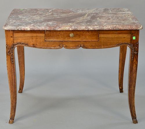 Louis XV oak table with rectangular rouge marble top,  over one drawer and pull-out writing surface in back, 18th century.  height 3...