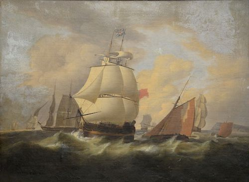 """British Ships in Stormy Sea,  oil on canvas,  unsigned,  19th Century,  relined,  23 1/2"""" x 31 1/2"""""""