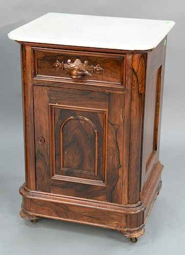 Rosewood Victorian half commode with shaped marble top.  height 31 3/4 inches, width 22 inches, depth 18 1/2 inches