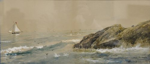 Edmund Darch Lewis (1835-1910),  watercolor,  Seascape, Rocks and Sailboat,  signed and dated lower right: Edmund D. Lewis 1892,  si...