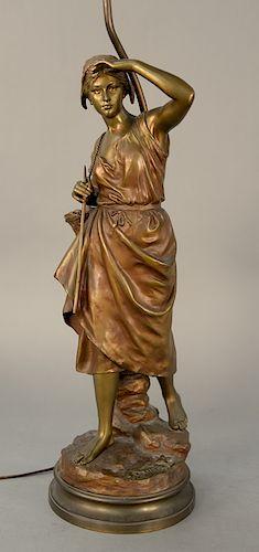 Eugene Laurent (1832-1898),  bronze,  Krabbenfischerin Pecheuse,  signed on base: E Laurent,  made into lamp,  figure height 20 inch...