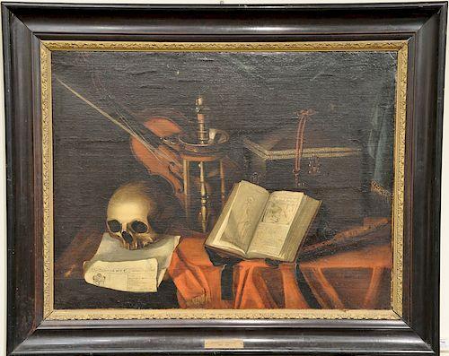 School of Harmen Van Steenwyck (1612 - 1660),  oil on canvas,  Vanitas Still Life,  17th century,  unsigned,  plaque reads: Harmen V...