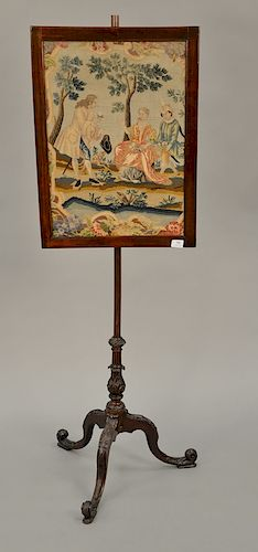 George III mahogany pole screen with needlework and petit point panel on carved tripod base.  height 23 1/4 inches, width 17 inches