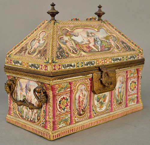 Large capodimonte valuables chest with domed angled lift-top,  painted panels with raised classical figures, bronze finials, handles...