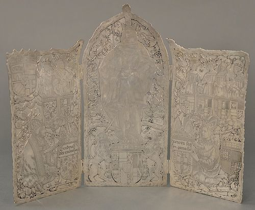 Tiffany & Co. Makers sterling silver folding triptych screen, depicting kings, queens, lions, crests, and pomegranates, having Chri...