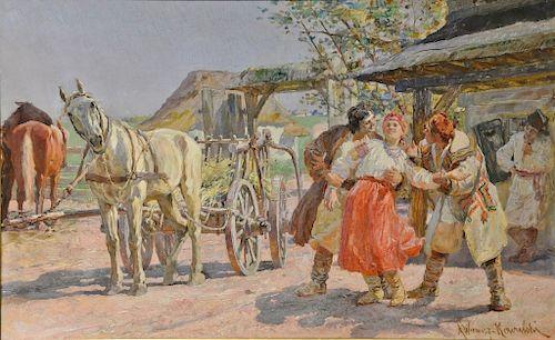 Alfred Von Wierusz-Kowalski (1849-1915), oil on panel, Sunny Farm Day, Courtship, Zalotysigned lower right: A. Wierusz-Kowalski, ...