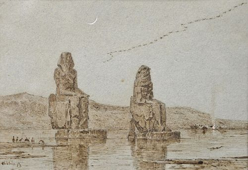 """Narcisse Berchere (1819-1891), pen and brown ink on paper, Orientalist Study for the Painting """"Colossus of Memnon and the Plain of..."""