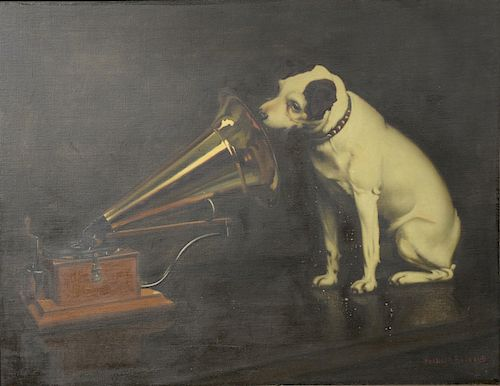 "Francis Barraud (1856-1924),  oil on canvas,  ""His Master's Voice"", ""Nipper"",  Trademark Edison Phonograph painting, originall..."