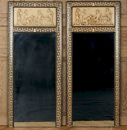 PAIR NEOCLASSICAL STYLE FAUX IVORY MIRRORS