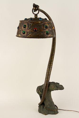 AUSTRIAN ART NOUVEAU BRONZE SNAKE TABLE LAMP