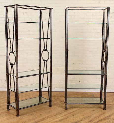 PAIR SUBSTANTIAL STEEL AND GLASS ETEGERES