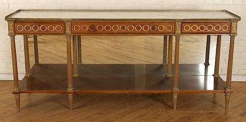 FRENCH DIRECTOIRE STYLE WHITE MARBLE TOP BUFFET