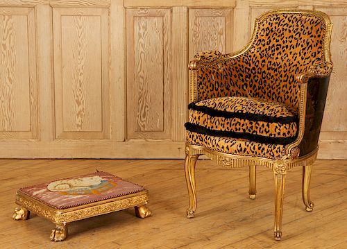 GILT WOOD LOUIS XVI STYLE BERGERE CHAIR AND STOOL
