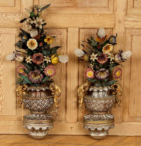 TWO FRENCH POLYCHROMED GILT WOOD SCONCES C.1900