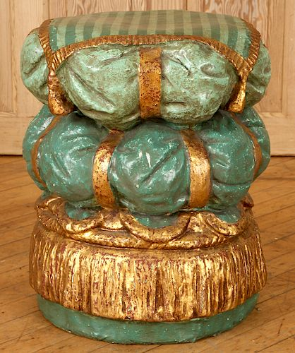 POLYCHROME STOOL STACKED PILLOWS GOLD GREEN PAINT