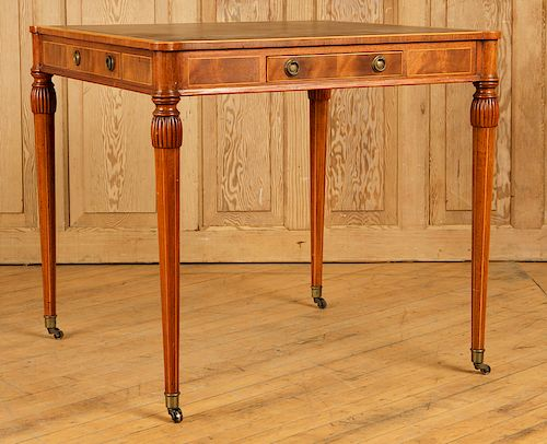 REGENCY MAHOGANY LEATHER TOP GAMES TABLE C. 1940