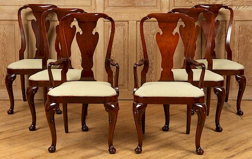 6 BAKER QUEEN ANNE STYLE MAHOGANY DINING CHAIRS