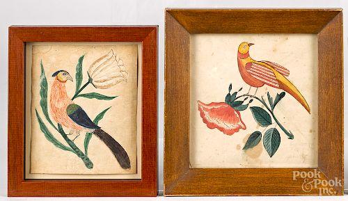 Two Pennsylvania watercolor fraktur bird drawings