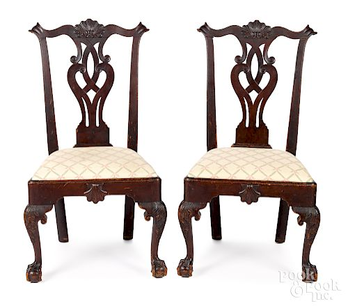 Pair of Philadelphia Chippendale walnut chairs