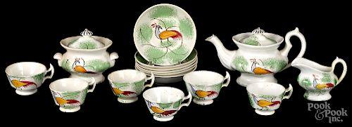 Miniature green spatter tea service