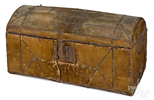 Leather covered immigrants trunk