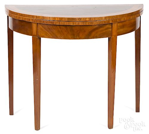 George III inlaid mahogany demilune card table