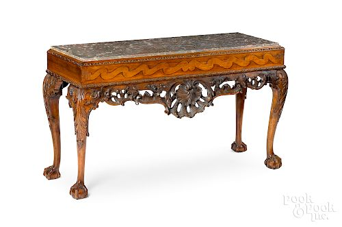 Pair of George III style mahogany slab tables