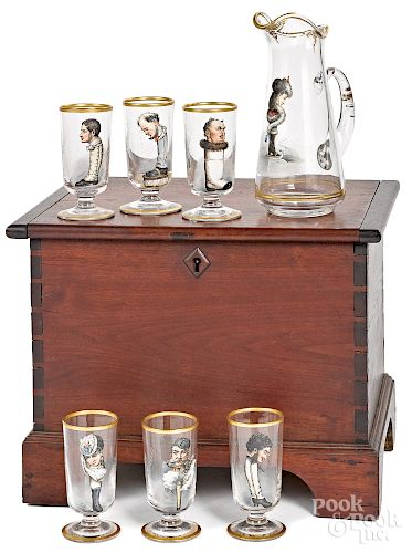 Walnut cellarette with a pitcher and six glasses