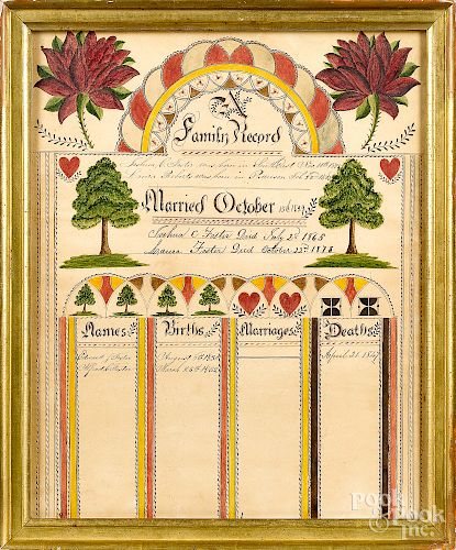 New York ink and watercolor family register