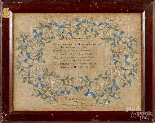 Washington D.C. silk on linen sampler