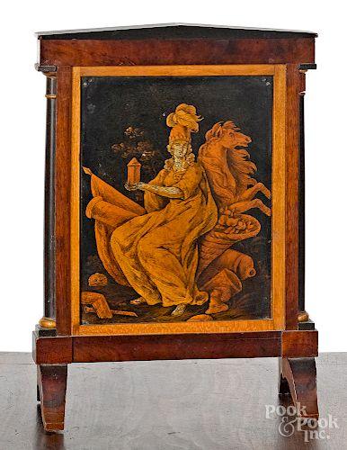 Empire mahogany and satinwood table screen