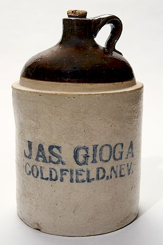 Jas Gioga 1 Gallon Jug, Goldfield Nevada.