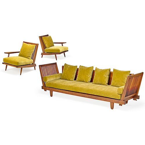 GEORGE NAKASHIMA Cushion Sofa w/ two lounge chairs