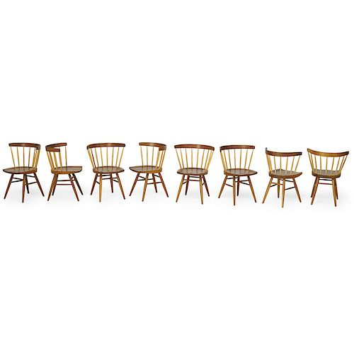 GEORGE NAKASHIMA; KNOLL Set of eight dining chairs