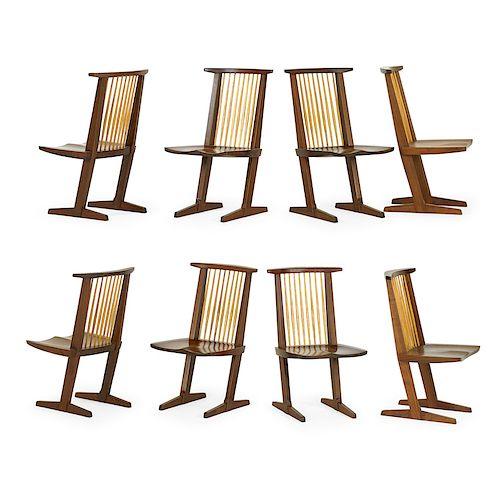 MIRA NAKASHIMA Assembled set, 8 Conoid chairs